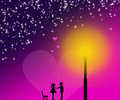 Fall in love couple falling on magic valentine s day night Stock Photo