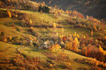 Fall in mountain village. October scene Royalty Free Stock Photo