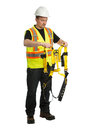 Fall protection awareness the worker in a uniform demonstrate a Royalty Free Stock Image