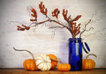 Fall Pumpkins Blue Vase