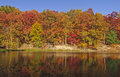 Fall reflections on a quiet lake colorful strahl in brown county state park indiana Royalty Free Stock Photography