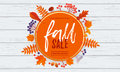 Fall sale poster banner vector leaf pattern background for autumn shopping Royalty Free Stock Photo