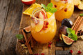 Fall sangria cocktail with apple, figs and orange Royalty Free Stock Photo