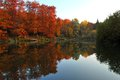 Fall Scene with Lake and Trees Autumn Reflection Royalty Free Stock Photo