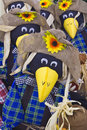 Fall season scare crows a flock of cute getting ready for autumn Royalty Free Stock Photo