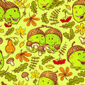 Fall season seamless pattern with smiling acorns Royalty Free Stock Photo
