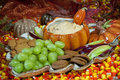 Fall spread this is a with grapes cookies with dip and candy corn as decor Stock Photo