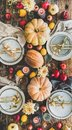 Table setting for Thanksgiving day party with fruits and candles Royalty Free Stock Photo