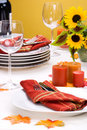 Fall theme dinner table settin Stock Photography