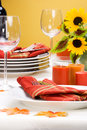Fall theme dinner table settin Stock Photo