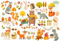 FAll theme set, forest Animals hand drawn style.