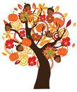 Fall tree illustration of a in with elements Stock Photo