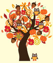 Fall tree illustration of a with owls and elements Stock Photography