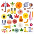 Fall vector icons, design elements on white background. Autumn harvest, food, accessories and leaves flat illustration.