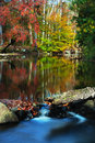 Fall waterscape the colors along creek rd in chester county pa Royalty Free Stock Image