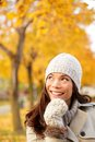 Fall woman thinking looking Royalty Free Stock Photos