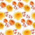 Fall yellow floral seamless pattern. Royalty Free Stock Photo