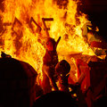 Fallas fire burning in Valencia fest at March 19 th Royalty Free Stock Photo