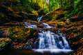 Fallen autumn leaves and a waterfall on Oakland Run in Holtwood, Royalty Free Stock Photo