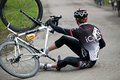 Fallen cyclist Stock Images
