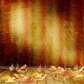 The fallen leaves on the background wall Stock Photo