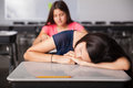 Falling asleep during class Royalty Free Stock Photo
