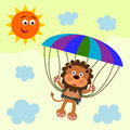 Falling brave illustration of a lion with a parachute Royalty Free Stock Photo