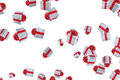 Falling christmas gift boxes on white background, holiday festive event Royalty Free Stock Photo