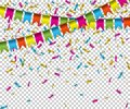 Falling color confetti with flags on transparent background. Vector holiday illustration. Royalty Free Stock Photo