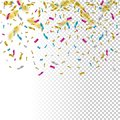 Falling color confetti on transparent background. Vector holiday illustration. Royalty Free Stock Photo