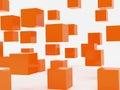 Falling cubes of orange colour Royalty Free Stock Image