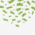 Falling dollar banknotes. Vector money confetti isolated