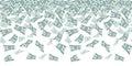 Falling dollar sign, money rain. Seamless pattern for finance concept