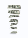 Falling dollars. Hundred dollars bank notes Stock Photography