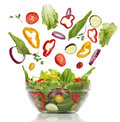 Falling fresh vegetables healthy salad isolated Royalty Free Stock Photo
