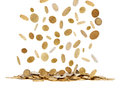 Falling gold coins Royalty Free Stock Photo