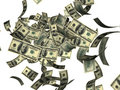 Falling hundred dollar bills Stock Photos
