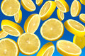 Falling lemon segments close up Stock Images