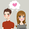 Falling in love concept illustration of a man and a woman side by side make eye contact and together Stock Photos