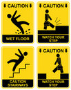 Falling man - caution sign Stock Photos