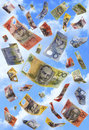 Falling Money Australian Dollars Raining Stock Images