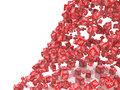 Falling red cubes with percent  on white background Royalty Free Stock Photo