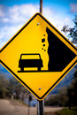 Falling rock street sign Royalty Free Stock Photo