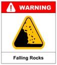 Falling rocks warning sign Vector isymbol Royalty Free Stock Photo