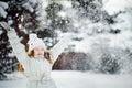 Falling snow around the child. Royalty Free Stock Photo