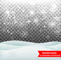 The falling snow and drifts on a transparent background. Snowfall. Christmas. Snowflakes and snow drifts. Snowflake vector Royalty Free Stock Photo