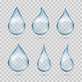 Falling transparent water drops vector set  on plaid background Royalty Free Stock Photo