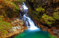 Falls creek a waterfalls with turquoise water at fiordland new zealand Stock Photo