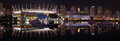 False creek night panorama vancouver of the city skyline and the sports stadiums at british columbia canada Stock Image