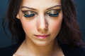 False eyelashes makeup woman having and glamorous Royalty Free Stock Image